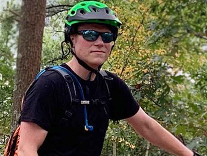 Andrew Keefer pictured on mountain bike